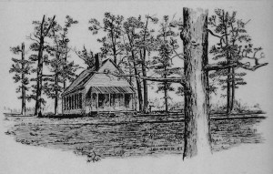 Cross Roads School drawing by Bob Jackson