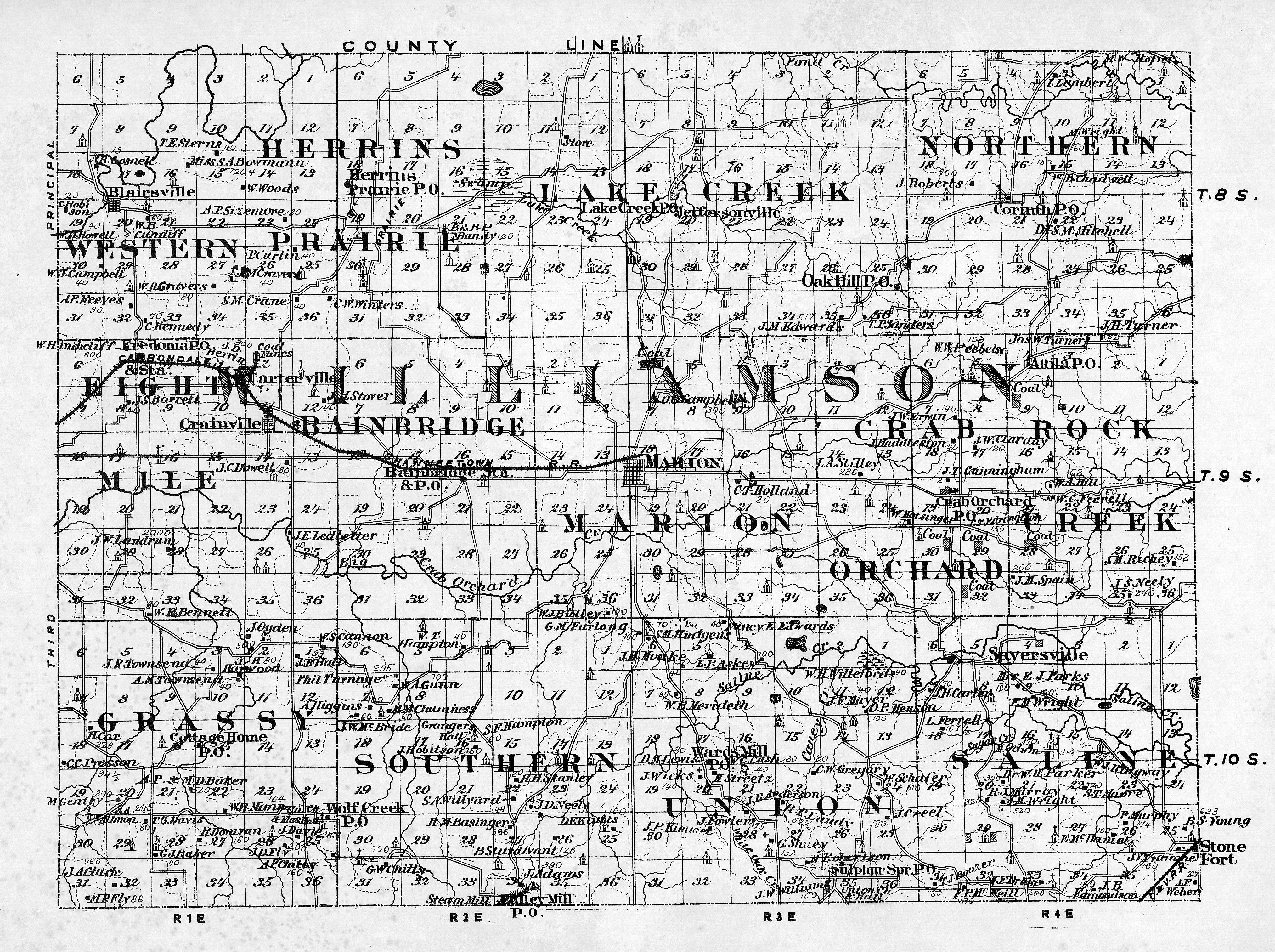 1876 Williamson County Map Williamson County Illinois Historical